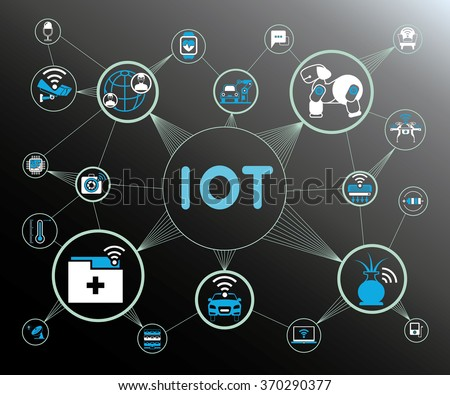 internet of things concept, IoT icons - stock vector
