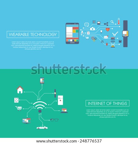 Internet of things concept vector illustration with icons for smart devices in household, technology, communication. Eps10 vector illustration - stock vector