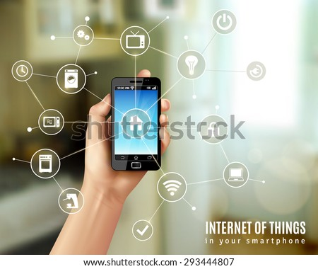 Internet of things concept with realistic human hand holding smartphone vector illustration - stock vector