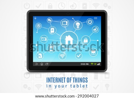 Internet of things concept with realistic mobile tablet and smart home devices symbols vector illustration - stock vector