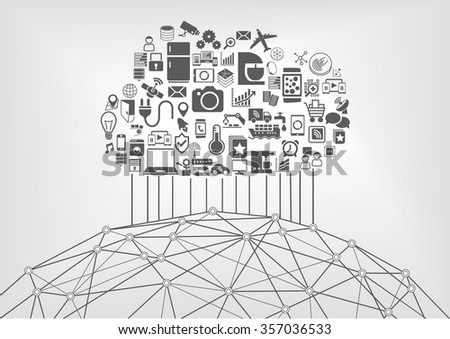 Internet of things (IOT) and cloud computing concept for connected devices in the world wide web. Vector illustration with icons - stock vector