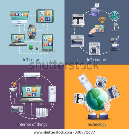 Internet of things  iot smart home comfort 4 flat icons composition square banner abstract isolated vector illustration - stock vector