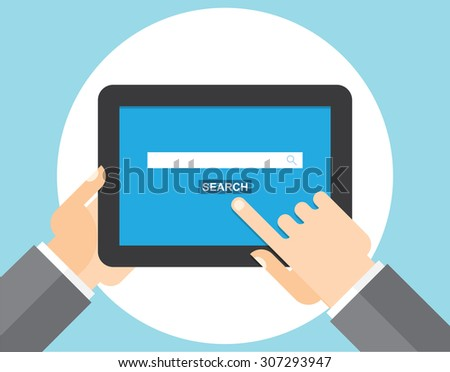 Internet search page on the tablet computer - stock vector