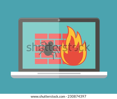 Internet security, firewall and virus protection. Flat design vector illustration. - stock vector