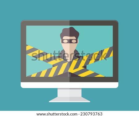 Internet security, hacker. Flat design vector illustration. - stock vector