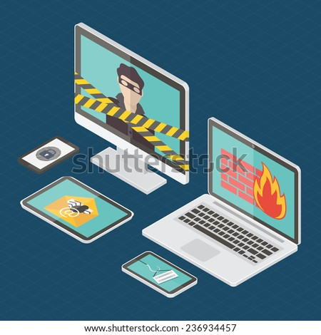Internet security, hacker, virus protection and email spam. Flat design isometric vector illustration. - stock vector