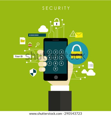 internet security - internet of things network protect mobile network virus  cloud technology flat design vector - stock vector