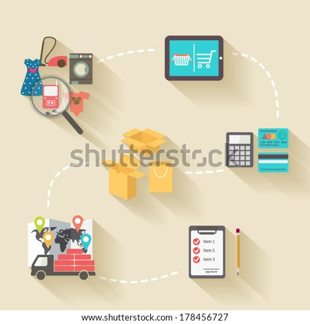 Internet shopping concept, flat design style with long shadows - stock vector
