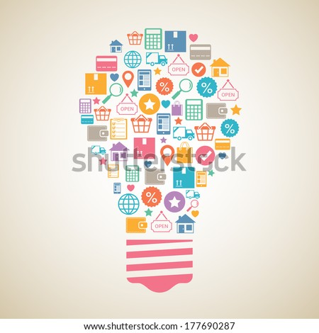 Internet shopping creative light bulb in flat style vector illustration - stock vector