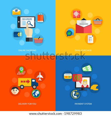 Internet shopping online email purchase delivery payment system isolated vector illustration - stock vector