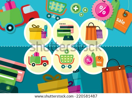 Internet shopping process and delivery. Business shop sale icons. Poster concept with icons of buying product via online shop and e-commerce ideas symbol and shopping elements in flat design pattern. - stock vector
