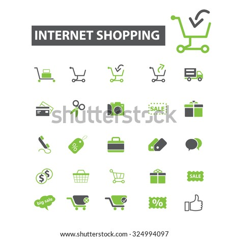 internet shopping, sales, retail icons - stock vector