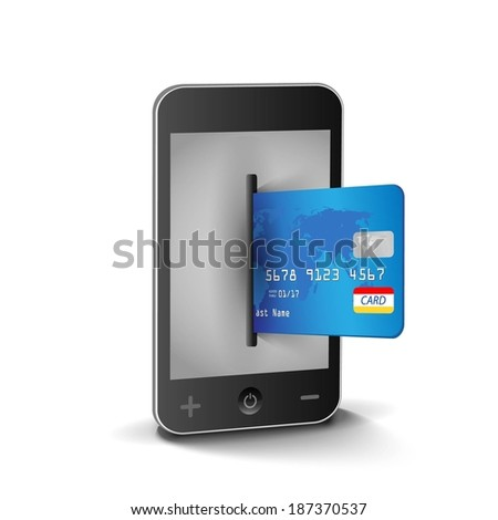 internet shopping with smart phone and creditcard - stock vector