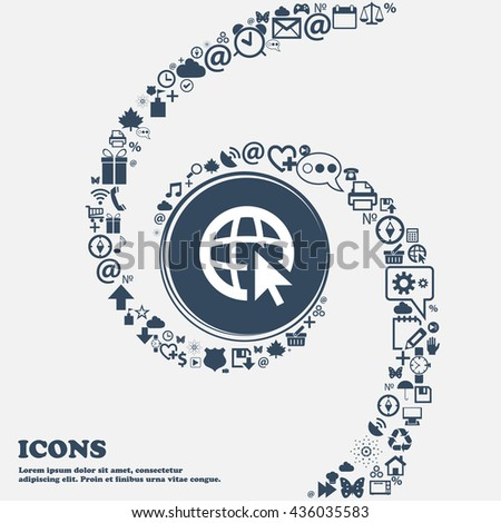 Internet sign icon. World wide web symbol. Cursor pointer in the center. Around the many beautiful symbols twisted in a spiral. You can use each separately for your design. Vector illustration - stock vector