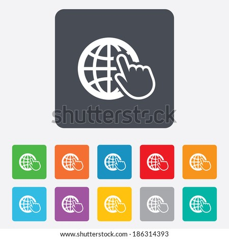Internet sign icon. World wide web symbol. Cursor pointer. Rounded squares 11 buttons. Vector - stock vector