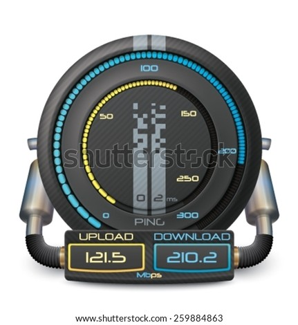 Internet Speed Test vector illustration eps 8 . You can change in layers file:  Device data to 1000 mbps; value PING; number of blue and yellow lit cells. - stock vector