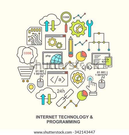 Internet technology and programming round shape pattern with colored linear icons. Line style html, php and code background with place for text. - stock vector
