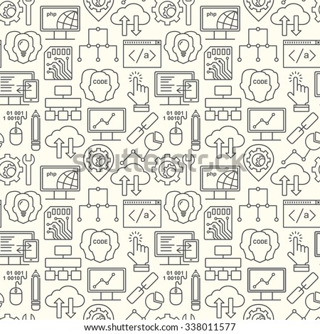 Internet technology and programming seamless background with linear icons set. Html, php and code seamless pattern with line style icons. - stock vector