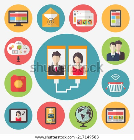 Internet technology, wireless connection, social media, online banking and e-commerce. Vector icons set. - stock vector