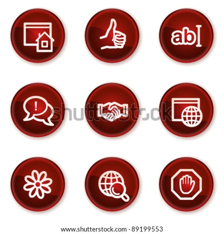 Internet web icons set 1, dark red circle buttons - stock vector