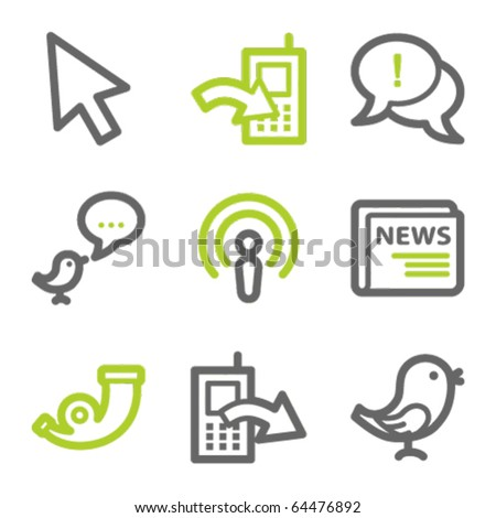 Internet web icons set 2, green and gray contour series - stock vector
