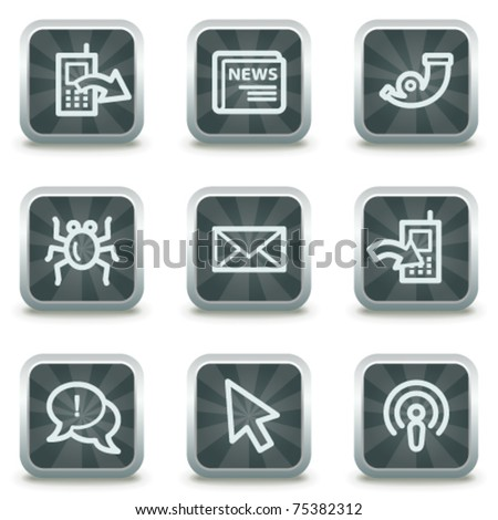 Internet web icons set 2, grey square buttons - stock vector