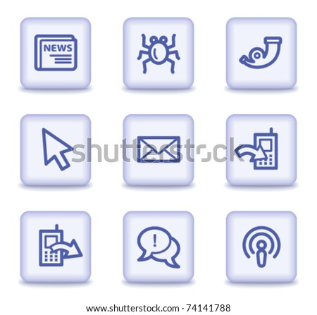 Internet web icons set 2, light violet glossy buttons - stock vector