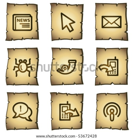 Internet web icons set 2, papyrus series - stock vector