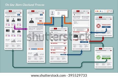 Internet Web Store Shop Payment Checkout Navigation Map Structure Prototype Framework Diagram - stock vector
