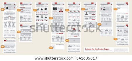Internet Web Store Shop Site Navigation Map Structure Prototype Framework Diagram - stock vector