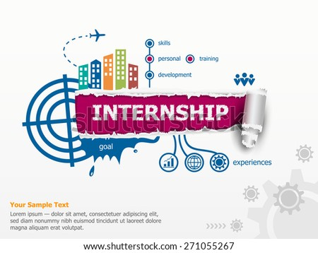 Internship creative concept and breakthrough paper hole with ragged edges with a space for your message.  - stock vector