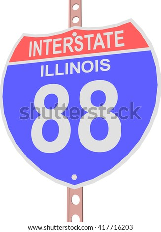 Interstate highway 88 road sign in Illinois - stock vector