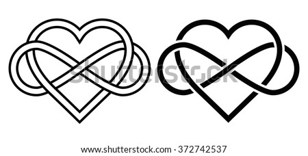 Intertwined Heart with The Sign of Infinity. Love forever - stock vector