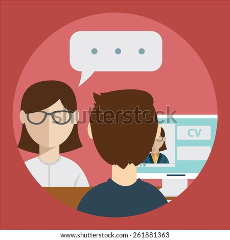 interview with the candidate positions. job interview. vector illustration in a flat style - stock vector