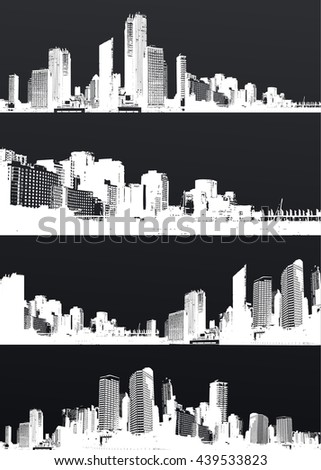 Inverted set of black and white panorama cities. - stock vector