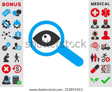 Investigate vector icon. Style is bicolor flat symbol, blue and gray colors, rounded angles, white background. - stock vector