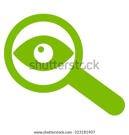 Investigate vector icon. Style is flat symbol, eco green color, rounded angles, white background. - stock vector