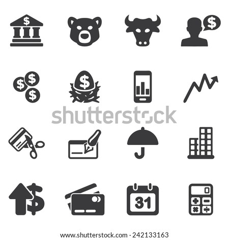 Investing and Finance Silhouette icons - stock vector