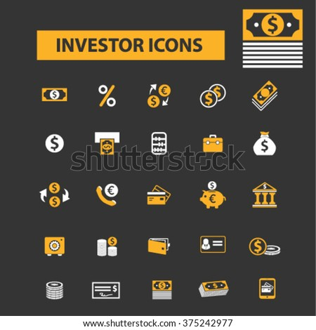 investment, bank, mobile trading, investor, wealth, deposit, market, payment, bankir, cash, finance, money, check, wallet icons, signs vector concept set for infographics, mobile, website, application - stock vector