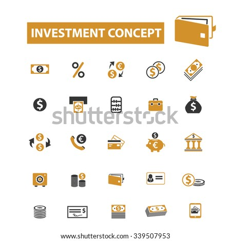investment  icons, signs vector concept set for infographics, mobile, website, application  - stock vector
