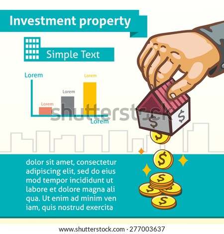 Investment Property Graphic Template with Hand Earning Money - stock vector