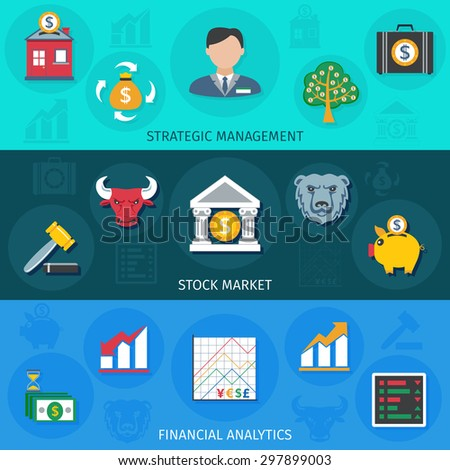Investment strategic management stock market and financial analytic flat long shadows horizontal banner set isolated vector illustration - stock vector