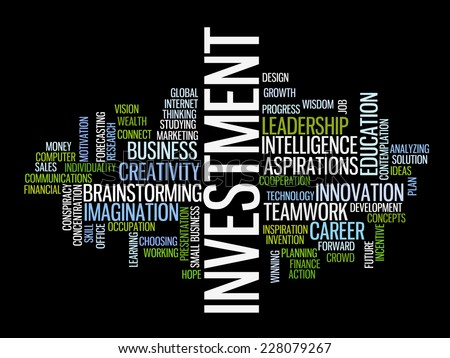 Investment strategy concept word cloud - stock vector