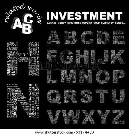 INVESTMENT. Vector letter collection. Illustration with different association terms. - stock vector