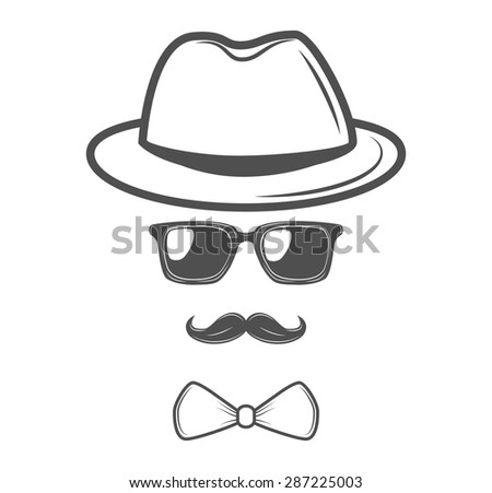 Invisible man. Hipster retro glasses with mustache. - stock vector