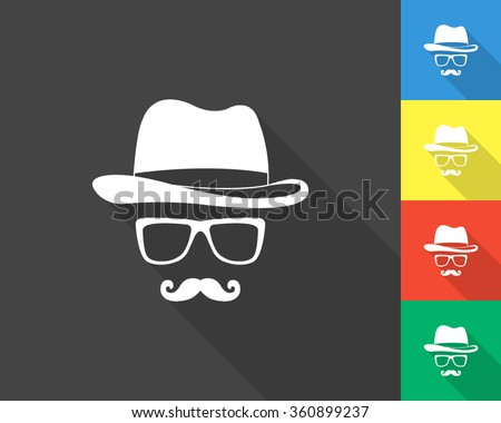 invisible man icon - gray and colored (blue, yellow, red, green) vector illustration with long shadow - stock vector