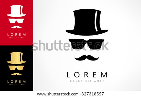 Invisible man with hat glasses and mustaches - stock vector