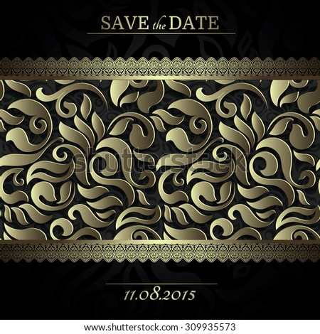 Invitation card Baroque black and gold colored seamless abstract floral background, Vintage frame and borders - stock vector