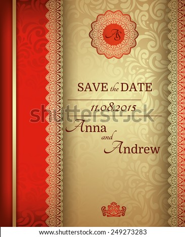 Invitation card Baroque Golden and red, Vintage frame, border, design elements - stock vector