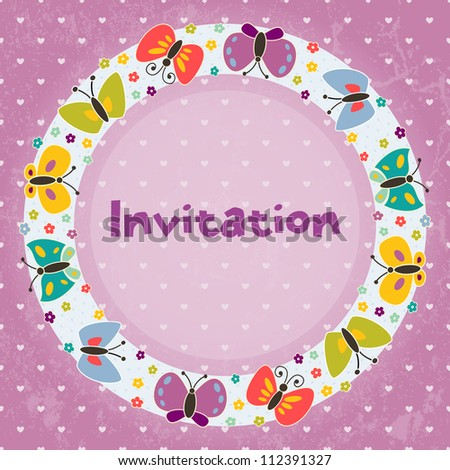 Invitation card for children's parties,  birthday, and other events.  Grunge effect can be removed. EPS 10 vector illustration - stock vector